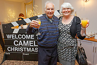 Pictured: Guests arrive. Wednesday 28 November 2018<br /> Re: National Lottery millionaires from south Wales and the south west of England have hosted a glitzy Rat Pack-inspired Christmas party for an older people's music group at The Bear Hotel in Cowbridge, Wales, UK.