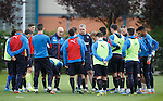 Mark Warburton and David Weir with the Rangers squad