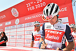 Trek-Segafredo at sign on before Stage 1 of the UAE Tour 2020 running 148km from The Pointe to Dubai Silicon Oasis, Dubai. 23rd February 2020.<br /> Picture: LaPresse/Massimo Paolone | Cyclefile<br /> <br /> All photos usage must carry mandatory copyright credit (© Cyclefile | LaPresse/Massimo Paolone)