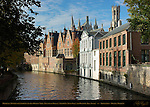 Canal Scene on the Groenerei, Medieval Towers of Landhuis van het Brugse Vrije Mansion of Bruges, Stadhuis Town Hall and Belfort Bell Tower,  Bruges, Brugge, Belgium