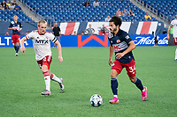 FOXBOROUGH, MA - JUNE 26: Ryan Spaulding #34 of the New England Revolution advances to the North Texas SC goal during a game between North Texas SC and New England Revolution II at Gillette Stadium on June 26, 2021 in Foxborough, Massachusetts.
