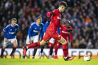 12th March 2020, Ibrox Stadiu, Glasgow, Scotland; Europa League football, Glasgow Rangers versus Bayer Leverkusen;  Leverkusen's Kai Havertz shoots and scores the penalty kick to make it 0:1 in the 37th minute