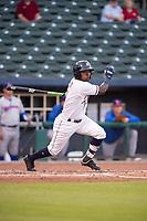 Northwest Arkansas Naturals infielder D.J. Burt (1) connects on a pitch on May 6, 2019, at Arvest Ballpark in Springdale, Arkansas. (Jason Ivester/Four Seam Images)