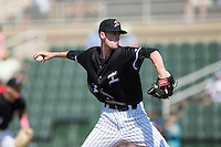Kannapolis Intimidators relief pitcher Jack Charleston (25) in action against the Lakewood BlueClaws at Kannapolis Intimidators Stadium on May 8, 2016 in Kannapolis, North Carolina.  The Intimidators defeated the BlueClaws 3-2.  (Brian Westerholt/Four Seam Images)
