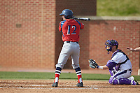Justin Etts (12) of the NJIT Highlanders at bat against the High Point Panthers at Williard Stadium on February 18, 2017 in High Point, North Carolina. The Panthers defeated the Highlanders 11-0 in game one of a double-header. (Brian Westerholt/Four Seam Images)