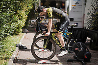 Mikel Nieve (ESP/Mitchelton-Scott) during the morning pre-race warm-up (at the team hotel)<br /> <br /> Stage 1 (ITT): Bologna to Bologna/San Luca (8.2km)<br /> 102nd Giro d'Italia 2019<br /> <br /> ©kramon