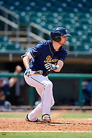 Montgomery Biscuits right fielder Ryan Boldt (23) follows through on a swing during a game against the Biloxi Shuckers on May 8, 2018 at Montgomery Riverwalk Stadium in Montgomery, Alabama.  Montgomery defeated Biloxi 10-5.  (Mike Janes/Four Seam Images)
