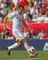 Spain forward Alvaro Negredo (22) drives for the net and scores. In a friendly match, Spain defeated USA, 4-0, at Gillette Stadium on June 4, 2011.