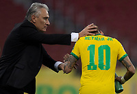 4th June 2021; Beira-Rio Stadium, Porto Alegre, Brazil; Qatar 2022 qualifiers; Brazil versus Ecuador; Neymar of Brazil celebrates his penalty kick goal with manager Tite in the 94th minute 2-0