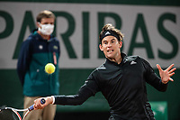 28th September 2020, Roland Garros, Paris, France; French Open tennis, Roland Garros 2020;   Dominic THIEM AUT plays a forehand during his match against Marin CILIC CRO in the Philippe Chatrier court on the first round of the French Open