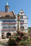 Germany, Baden-Wuerttemberg, Markgraefler Land, wine village Staufen; listed, landmarked old town with townhall, town museum, fountain at market square