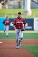 Donovan Solano (7) of the Sacramento River Cats on defense against the Salt Lake Bees at Smith's Ballpark on April 12, 2019 in Salt Lake City, Utah. The River Cats defeated the Bees 4-2. (Stephen Smith/Four Seam Images)