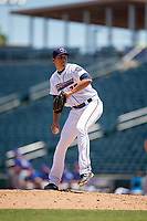 Jacksonville Jumbo Shrimp relief pitcher Parker Bugg (29) during a Southern League game against the Tennessee Smokies on April 29, 2019 at Baseball Grounds of Jacksonville in Jacksonville, Florida.  Tennessee defeated Jacksonville 4-1.  (Mike Janes/Four Seam Images)