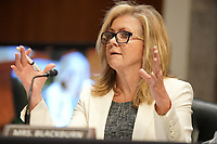 """United States Senator Marsha Blackburn (Republican of Tennessee) questions former United States Deputy Attorney General Rod Rosenstein during a US Senate Judiciary Committee hearing to discuss the FBI's """"Crossfire Hurricane"""" investigation on Wednesday, June 3, 2020.<br /> Credit: Greg Nash / Pool via CNP/AdMedia"""