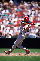 SAN FRANCISCO, CA - Barry Larkin of the Cincinnati Reds bats during a game against the San Francisco Giants at Candlestick Park in San Francisco, California in 1995. Photo by Brad Mangin