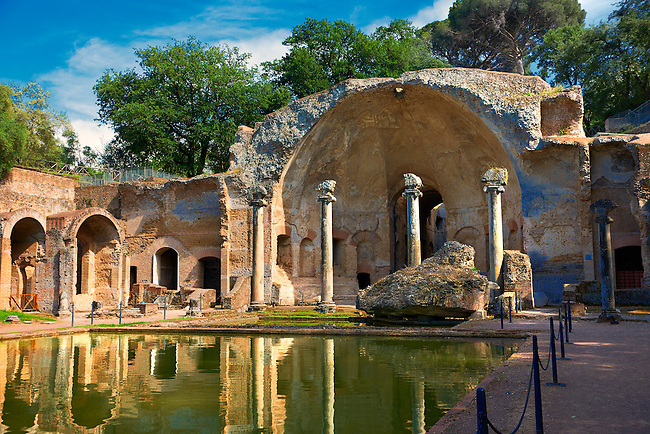 The Serapaeum, dedicated to the gods Isis and Serpis which was probably used as a banqueting hall. Hadrian's Villa ( Villa Adriana ) built during the second and third decades of the 2nd century AD, Tivoli, Italy. A UNESCO World Heritage Site.