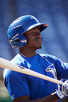 Dunedin Blue Jays center fielder David Harris (4) during practice before a game against the Clearwater Threshers on April 8, 2016 at Bright House Field in Clearwater, Florida.  Dunedin defeated Clearwater 8-3.  (Mike Janes/Four Seam Images)