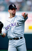 Todd Helton of the Colorado Rockies plays in a baseball game at Edison International Field during the 1998 season in Anaheim, California. (Larry Goren/Four Seam Images)