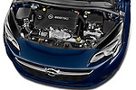 Car Stock 2015 Opel CORSA Enjoy 5 Door Hatchback Engine high angle detail view