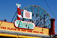BROOKLYN - NEW YORK - APRIL 08: A Nathan's Faumos logo is seen at Coney Island on April 08, 2021 in New York. After 18 months of closure due to the Coronavirus pandemic, Coney Island parks will welcome visitors taking safety restrictions including physical distancing through reduced capacity. (Photo by John Smith/VIEWpress)