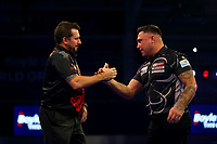 9th October 2021; Morningside Arena, Leicester, England; PDC BoyleSports Darts World Grand Prix finals ; The Boylesports World Grand Prix champion Jonny Clayton embraces country man Gerwen Price