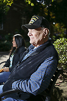 Albert King sits for a portrait, Friday, October 2, 2020 at the Fayetteville Square in Fayetteville. Check out nwaonline.com/2010010Daily/ for today's photo gallery. <br /> (NWA Democrat-Gazette/Charlie Kaijo)