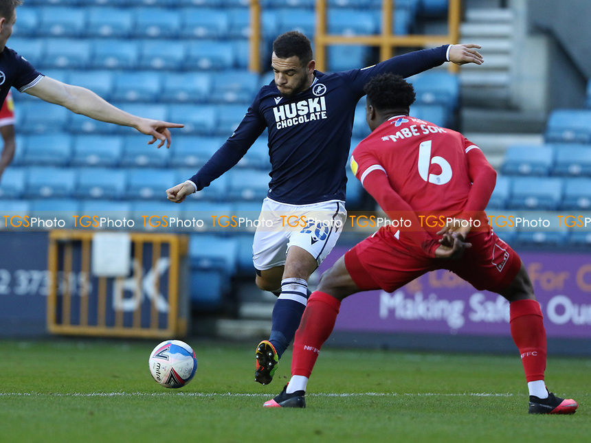 Mason Bennett of Millwall shot goes wide during Millwall vs Nottingham Forest, Sky Bet EFL Championship Football at The Den on 19th December 2020