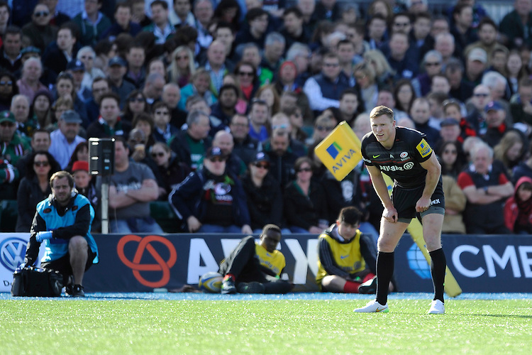 Chris Ashton of Saracens during the Aviva Premiership Rugby match between Saracens and Leicester Tigers at Allianz Park on Saturday 11th April 2015 (Photo by Rob Munro)