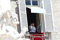 Pope Francis waves faithful as he arrives to recites the Sunday Angelus noon prayer from the window of his studio overlooking St.Peter's Square, at the Vatican, Sunday, June 7, 2020.<br /> UPDATE IMAGES PRESS/Isabella Bonotto<br /> <br /> STRICTLY ONLY FOR EDITORIAL USE