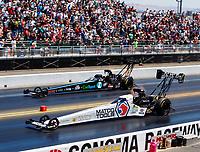 Jul 30, 2017; Sonoma, CA, USA; NHRA top fuel driver Antron Brown (near) races alongside Scott Palmer during the Sonoma Nationals at Sonoma Raceway. Mandatory Credit: Mark J. Rebilas-USA TODAY Sports