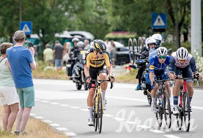 Leading final trio consisting of: Wout van Aert (BEL/Jumbo-Visma), Edward Theuns (BEL/Trek-Segafredo) & Remco Evenepoel (BEL/Deceuninck-QuickStep)<br /> <br /> Belgian National Championships 2021 - Road Race<br /> <br /> One day race from Waregem to Waregem (221km)<br /> <br /> ©kramon