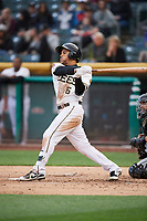 Michael Hermosillo (6) of the Salt Lake Bees bats against the Albuquerque Isotopes at Smith's Ballpark on April 5, 2018 in Salt Lake City, Utah. Salt Lake defeated Albuquerque 9-3. (Stephen Smith/Four Seam Images)