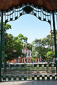 Belem, Para State, Brazil. Teatro da Paz - Theatre of Peace, view from bandstand.