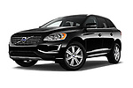 Stock pictures of low aggressive front three quarter view of 2017 Volvo XC60 Inscription 5 Door SUV Low Aggressive