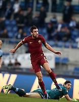 Calcio, Serie A: Lazio vs Roma. Roma, stadio Olimpico, 4 dicembre 2016.<br /> Roma's Kevin Strootman, top, reacts past goalkeeper Federico Marchetti after scoring during the Italian Serie A football match between Lazio and Rome at Rome's Olympic stadium, 4 December 2016. Roma won 2-0.<br /> UPDATE IMAGES PRESS/Isabella Bonotto