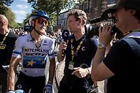 European Champion Matteo Trentin (ITA/Mitchelton Scott) post race interviewed by Matt Stephens for Eurosport TV. <br /> <br /> Stage 10: Saint-Flour to Albi (217.5km)<br /> 106th Tour de France 2019 (2.UWT)<br /> <br /> ©kramon