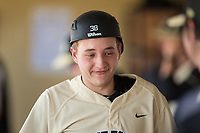 Wake Forest Demon Deacons bullpen catcher Larry Mascolino (38) during the game against the Pittsburgh Panthers at David F. Couch Ballpark on May 20, 2017 in Winston-Salem, North Carolina. The Demon Deacons defeated the Panthers 14-4.  (Brian Westerholt/Four Seam Images)