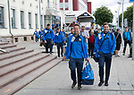 FK Trakai v St Johnstone…05.07.17… Europa League 1st Qualifying Round 2nd Leg<br />St Johnstone's Chris Millar and Paul Paton lead the players from the airport after landing in Vilnius, Lithuania<br />Picture by Graeme Hart.<br />Copyright Perthshire Picture Agency<br />Tel: 01738 623350  Mobile: 07990 594431