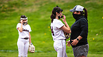 WOLCOTT, CT 051021JS22—Torrington head coach Saran Arburr talks with her pitcher Amelia Boulli  (14) during their NVL softball game  against Wolcott Monday at Wolcott High School. Jim Shannon Republican American