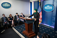 Sameera Fazili, deputy director of the National Economic Council, speaks during a news conference in the James S. Brady Press Briefing Room at the White House in Washington, D.C., U.S., on Tuesday, June 8, 2021. President Biden released a multi-pronged strategy to secure critical supply chains in products ranging from medicines to microchips, and is also weighing a potential trade probe that could result in U.S. tariffs on certain magnet imports. <br /> CAP/MPI/RS<br /> ©RS/MPI/Capital Pictures
