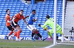 21.02.2021 Rangers v Dundee Utd: Benjamin Siegrist saves from Alfredo Morelos