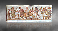 Picture of a Roman mosaics design depicting Dionysus riding a lion; from the ancient Roman city of Thysdrus. 2nd century AD House of the Dionysus Proccession. El Djem Archaeological Museum; El Djem; Tunisia. Against a grey background