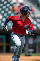 Columbus Clippers third baseman Zach Walters (27) runs to first during a game against the Buffalo Bisons on July 19, 2015 at Coca-Cola Field in Buffalo, New York.  Buffalo defeated Columbus 4-3 in twelve innings.  (Mike Janes/Four Seam Images)