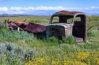 Abandoned truck cab at the Carrizo Plain National Monument in California.