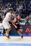 Real Madrid´s player Gustavo Ayon and Bayern Munich´s player Savanovic during the 4th match of the Turkish Airlines Euroleague at Barclaycard Center in Madrid, Spain, November 05, 2015. <br /> (ALTERPHOTOS/BorjaB.Hojas)