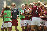 9 September 2007: Shari Summers kicks the game-winning penalty kick during Stanford's 2-1 overtime win over #2 Notre Dame at Buck Shaw Stadium in Santa Clara, CA. Kira Maker, Morgan Redman, Christen Press, April Wall, Allison Falk, Lizzy George, and Marisa Abegg and Rachel Buehler are pictured.