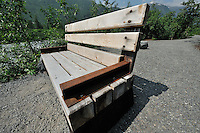 The Alaska Railroad's Spencer Glacier Whistlestop train gives visitors access to hiking, camping and stunning views. The trail features park benches mde, in part, out of old railroad tracks.