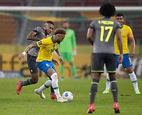 4th June 2021; Beira-Rio Stadium, Porto Alegre, Brazil; World Cup 2022 qualifiers; Brazil versus Ecuador; Neymar of Brazil holds off Ayrton Preciado of Ecuador