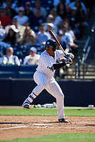 New York Yankees right fielder Isiah Gilliam (60) at bat during a Grapefruit League Spring Training game against the Toronto Blue Jays on February 25, 2019 at George M. Steinbrenner Field in Tampa, Florida.  Yankees defeated the Blue Jays 3-0.  (Mike Janes/Four Seam Images)