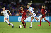Orlando City, FL - Wednesday March 07, 2018: Mallory Pugh, Toni Duggan during a 2018 SheBelieves Cup match between the women's national teams of the United States (USA) and England (ENG) at Orlando City Stadium.